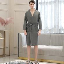 Халат вафельный для мужчин, летний банный халат «сосут воду», мужской банный халат, сексуальный Ночной халат для мужчин s размера плюс, кимон...(Китай)