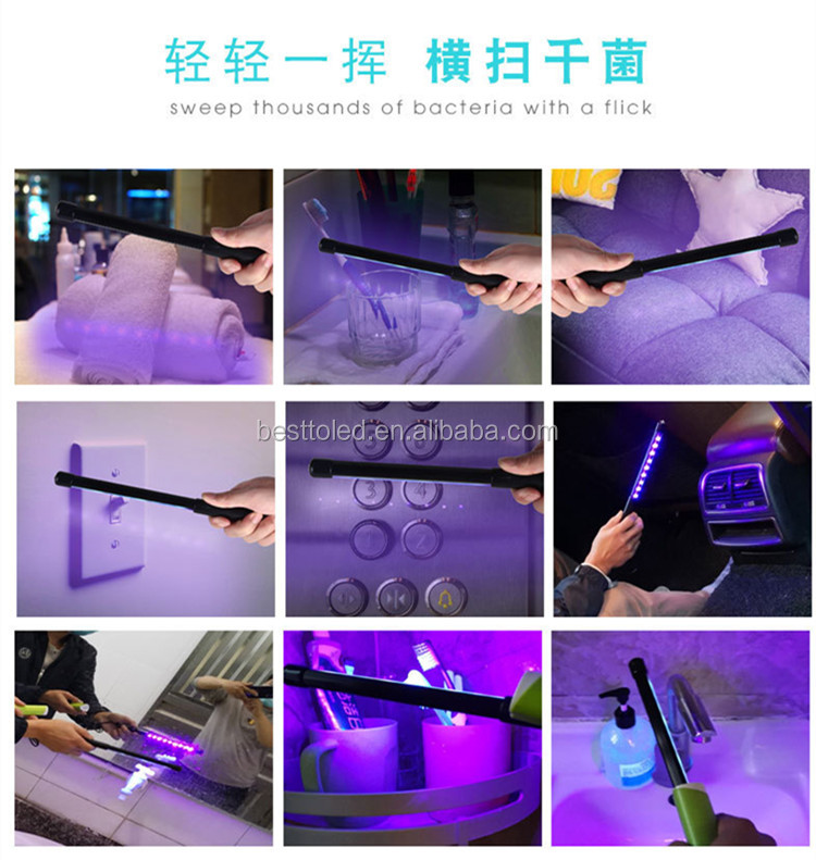 UV Light Virus Killer Portable Germicidal Lamp 3W Germicidal Light UVC LED Handheld Sterilizer Lamp without chemical