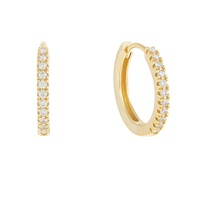 Gemnice popular 925 silver jewelry gold plated cz diamond huggie hoop earring set