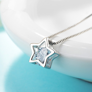 925 Sterling Silver Star Necklace Pendant Crystal Zircon Hollow Heart Necklace Pendant
