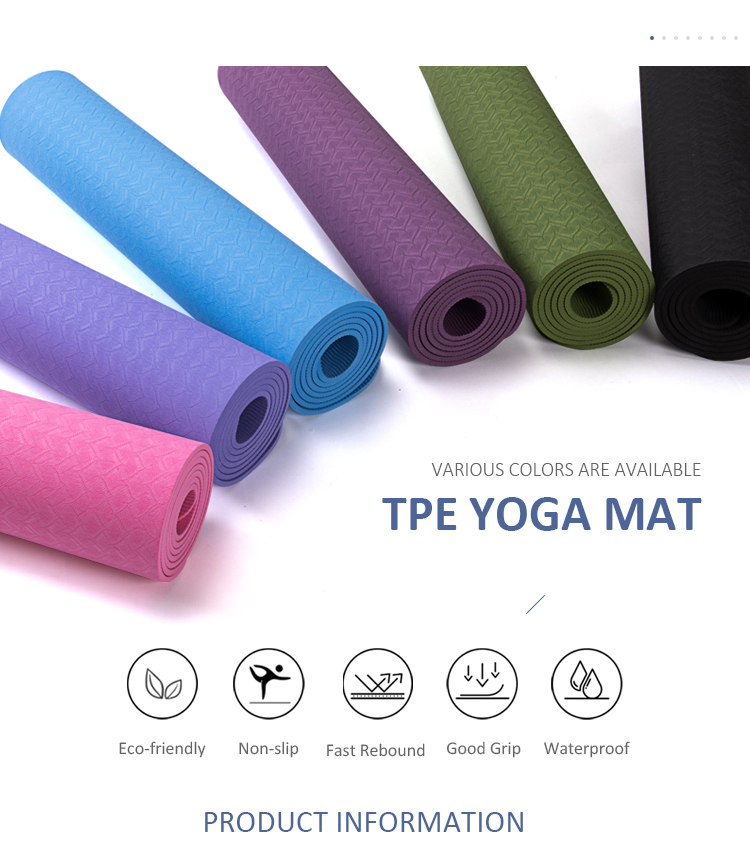 8mm Cor Única Esteiras Anti-slip Esteiras da Ioga do TPE Yoga Eco
