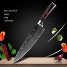 Set 440c Stainless Steel 8pcs Kitchen Chef Knives Set 8 Inch Japanese 7CR17 440C High Carbon Stainless Steel Damascus Laser Pattern Slicing Santoku Tool
