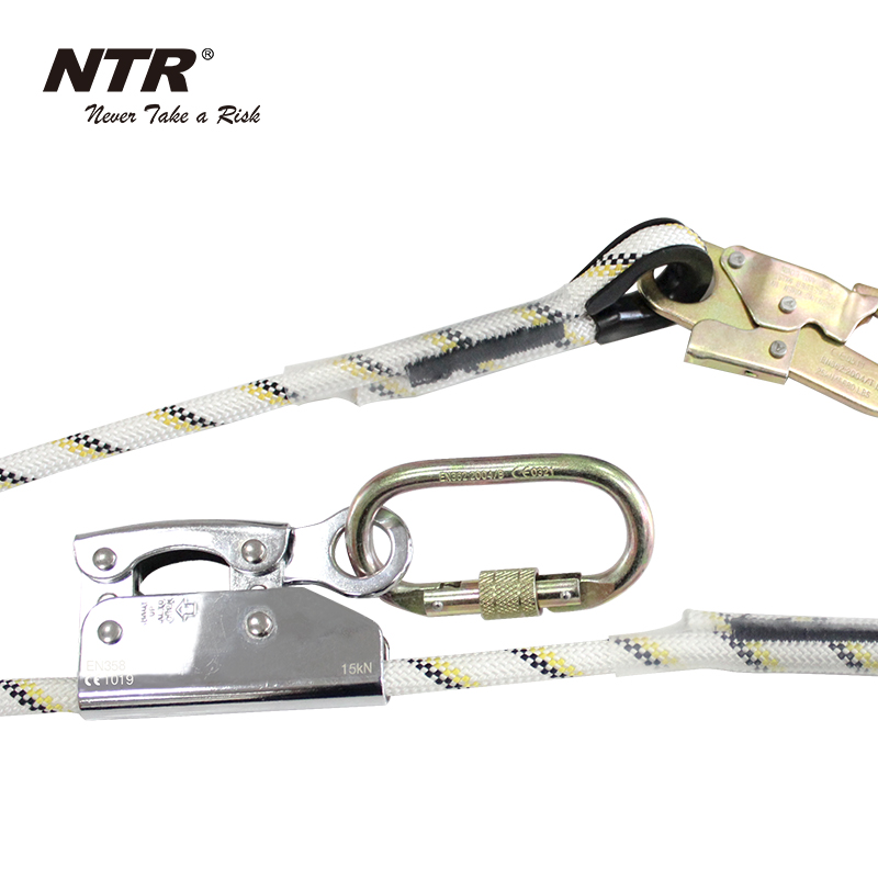 Work positioning safety harness lanyard adjustable lanyard