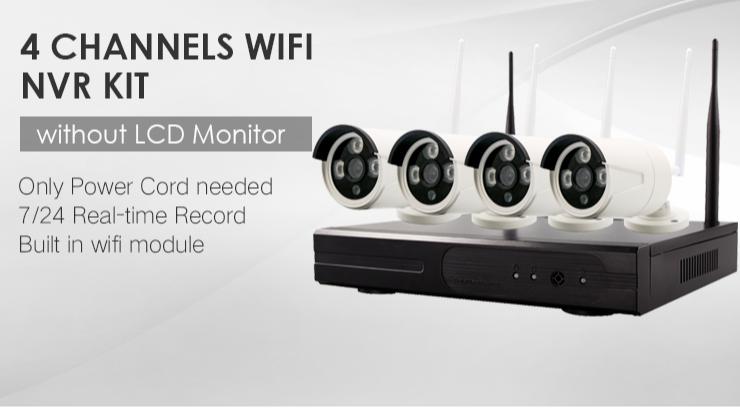 2MP 4 canales de Video grabadora CCTV NVR de noche visión 4CH inalámbrico 1080P NVR al aire libre casa WIFI Cámara Kit de sistema de seguridad CCTV