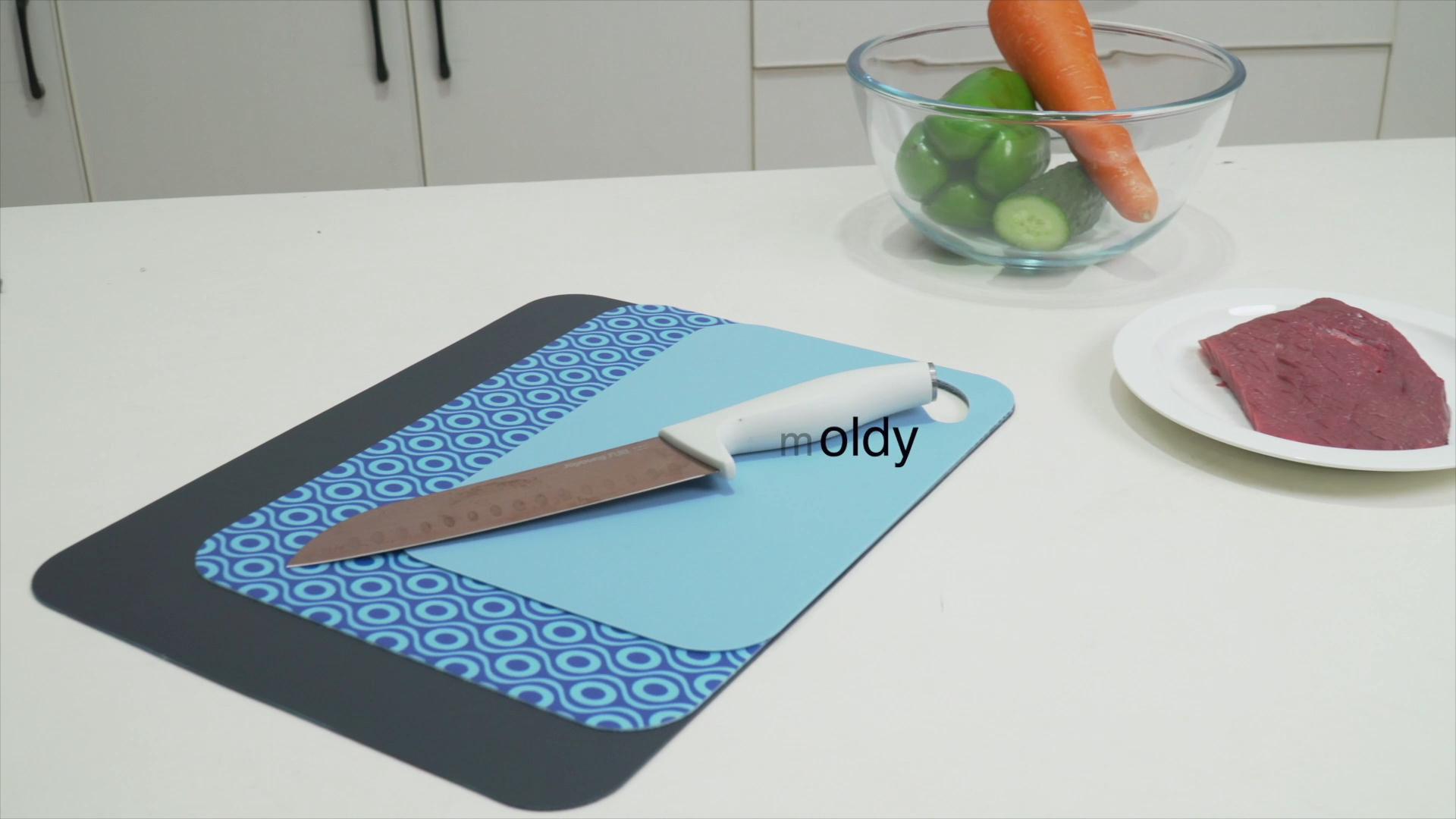 새로운 디자인 도매 유연한 얇은 플라스틱 커팅 보드 매트 세트 세 세트