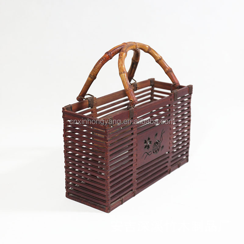 25 years factory custom Natural Hand-Woven Rectangular Wicker Handbag Basket Purse Summer Women Straw Tote bag
