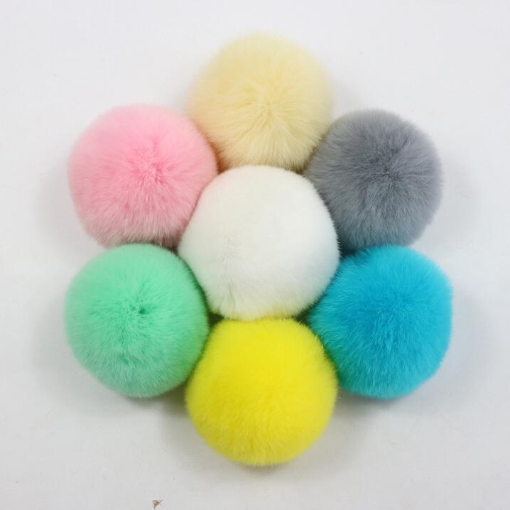 9cm Genuine color fluffy rabbit/rex rabbit/<strong>fox</strong>/raccoon/mink <strong>fur</strong> pom poms for sale for beanie bag <strong>keychain</strong> hat