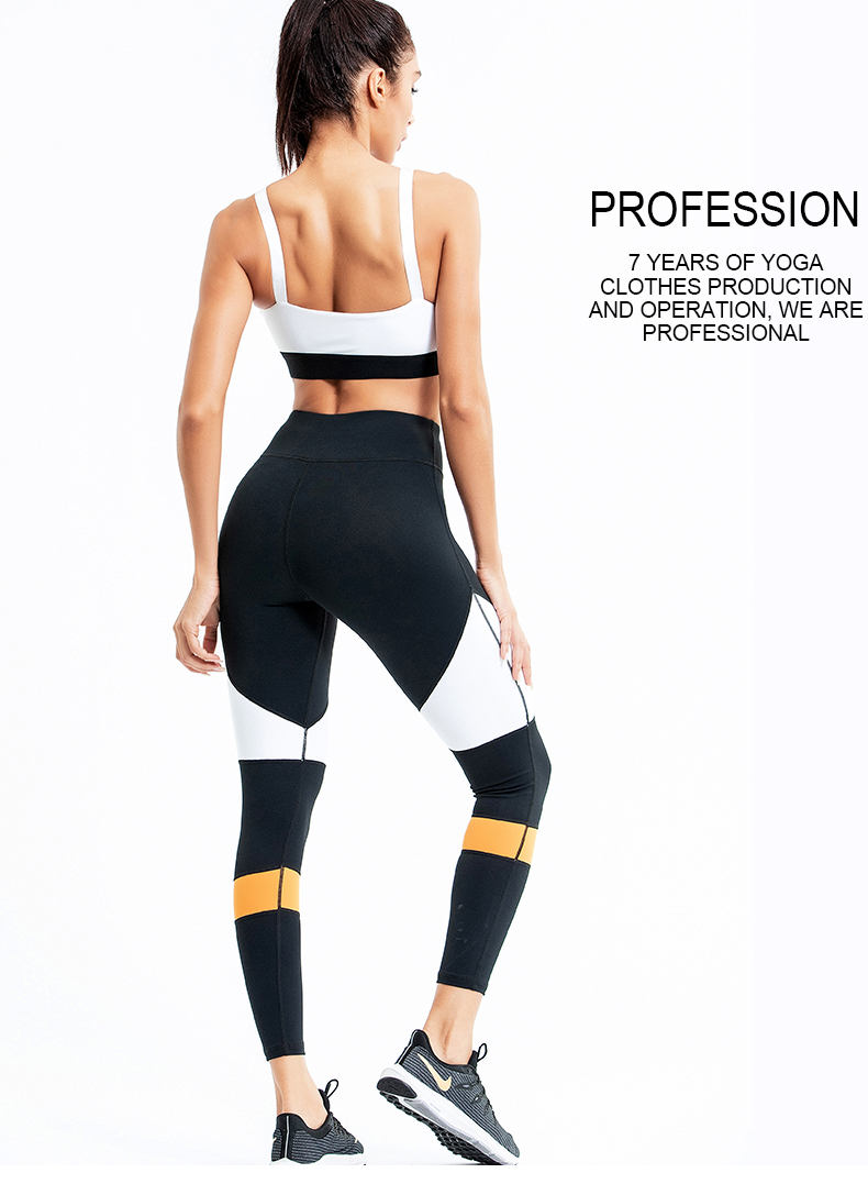 2020 Europe and the us yoga suits Women quickly dry mesh contrast color splicing buttock sports fitness suit
