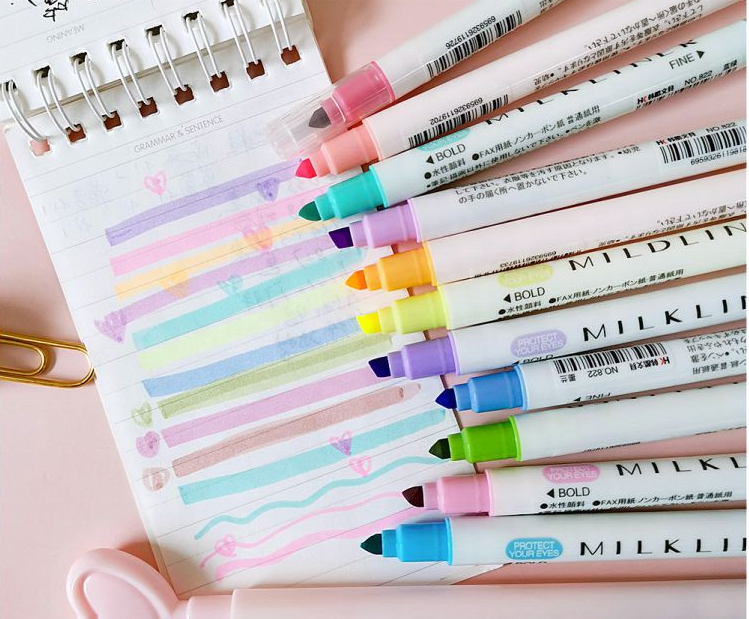 Fluorescent marker pen double headed pen students use a candy color 12 color set of key marker collection drawing pen