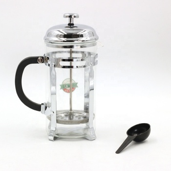 Top quality French Press With Free Spoon Stainless Steel Filter Coffee Maker Glass Coffee Plunger