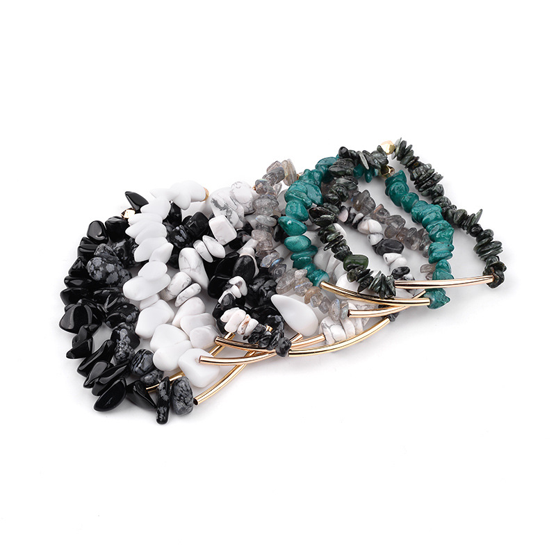 Natural Irregular Crushed Crystal Bracelet Amazon Supply Pink Austrian Crystal spring Bracelet Wholesale