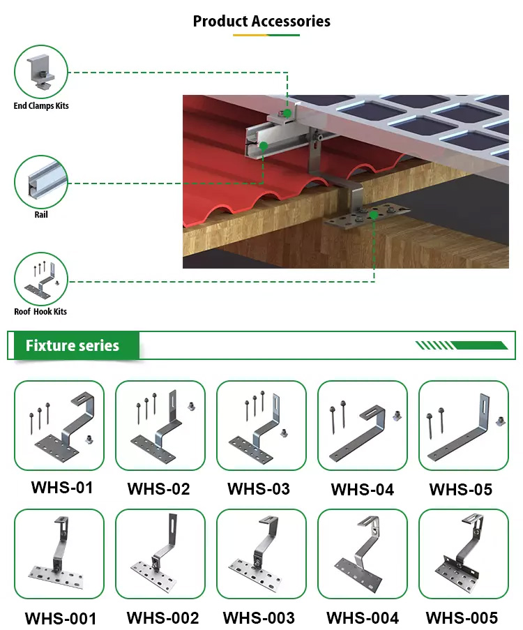 Aluminum Solar Tile Roof Hook Mounting System