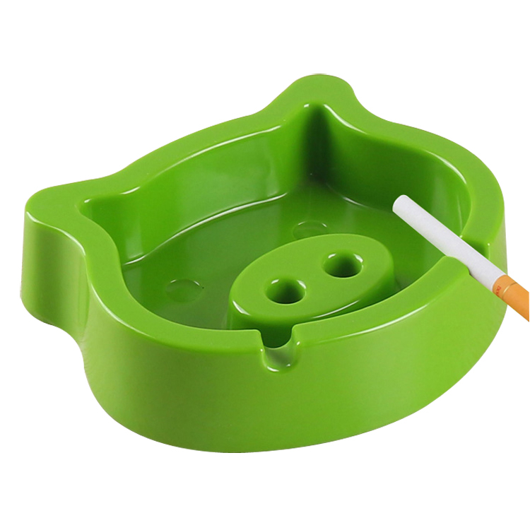 RTS 12.3x 12.3 x 3cm 100% melamine ashtray, heavy duty plastic melamine, cartoon pig design