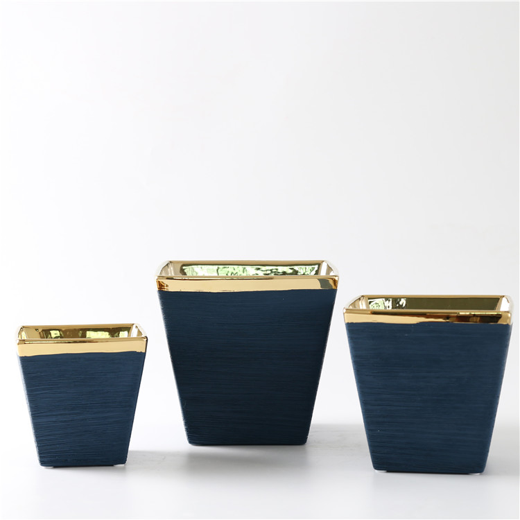 stripes embossed matte gold plating home decorative item ceramic pot for plant