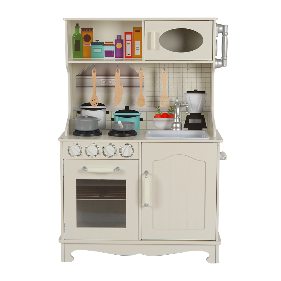 Wooden Pretend Play Kitchen Set for Kids Toddlers with Electric hob, and Cookware Accessories, Aged 3+