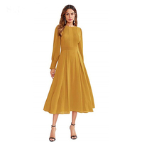2019 Dress women elegant frilled long sleeve maxi dress, office chiffon pleated fit & flare casual maxi dress