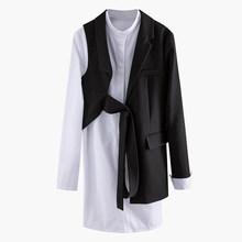 Женский ассиметричный Блейзер EAM, черный блейзер из двух предметов с длинным рукавом и отворотом, весенне-Осенняя мода 2020 1N904(Китай)