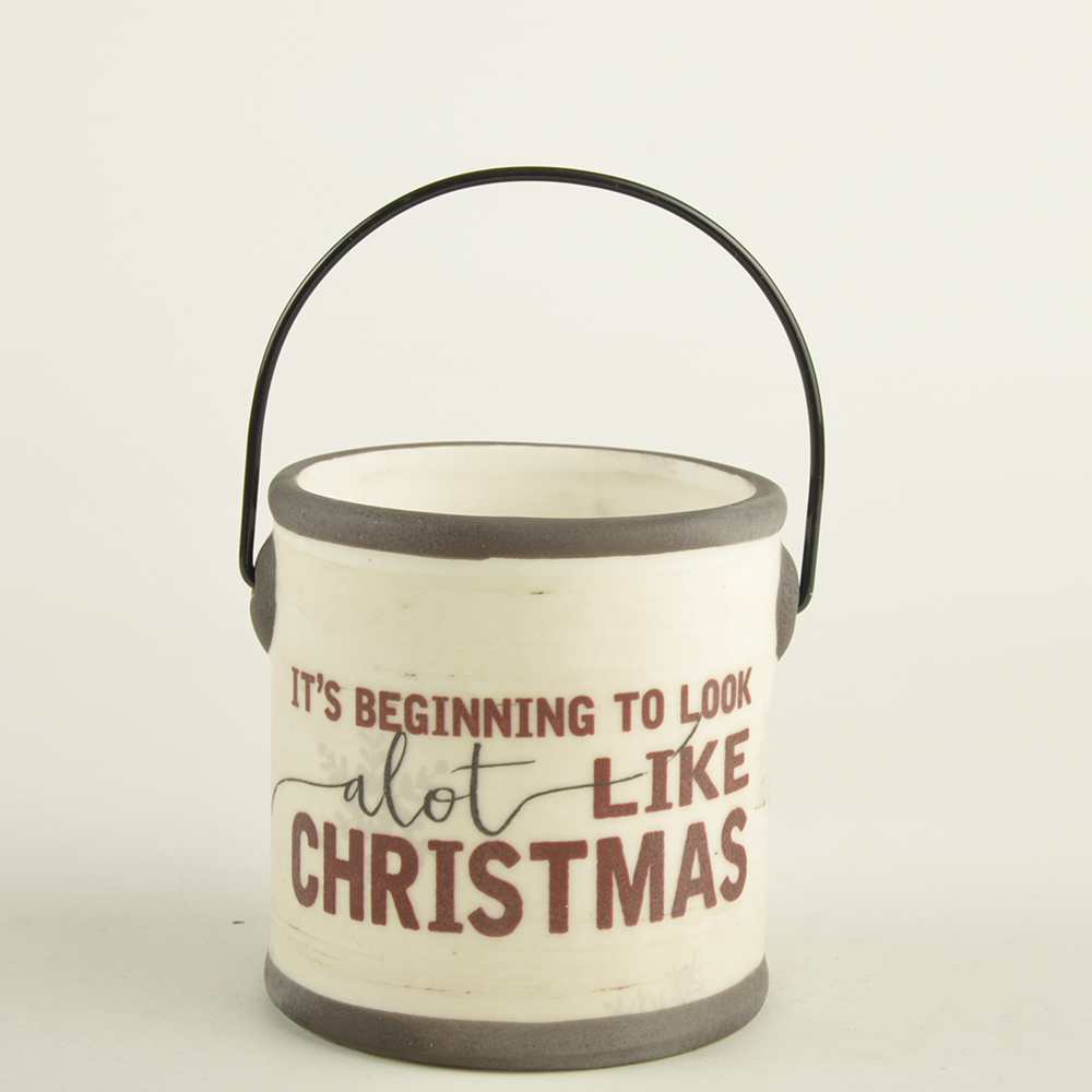 New design custom personalized factory OEM Ceramic Christmas indoor decor Crock with handle decoration