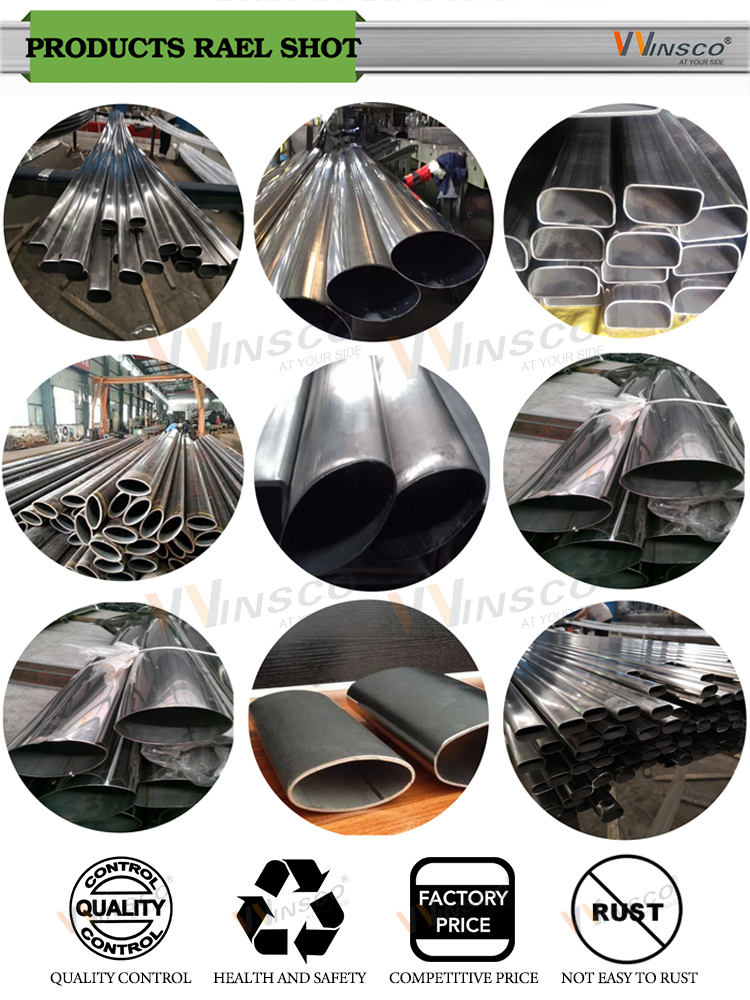 Factory price Round Rectangle Oval Shaped Colored Grade 316L 304 201 Welded Stainless Steel elliptical Pipe
