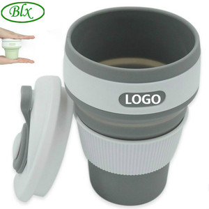 BLX Custom Logo Silicone Collapsible Flexible Folding Foldable Pocket Cup for Coffee
