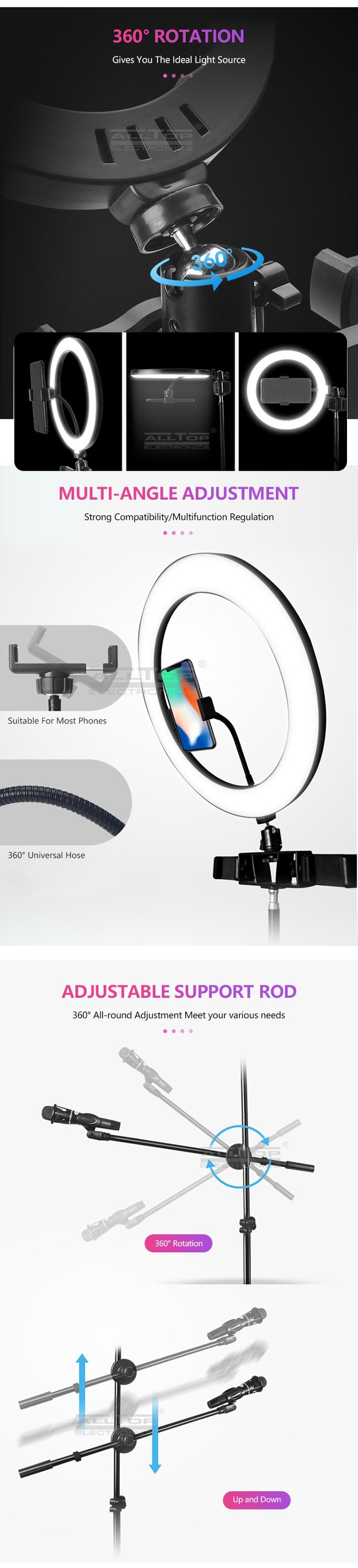 ALLTOP Phone Holder Camera Video Photography Selfie with Stand Tripod Led Ring Light