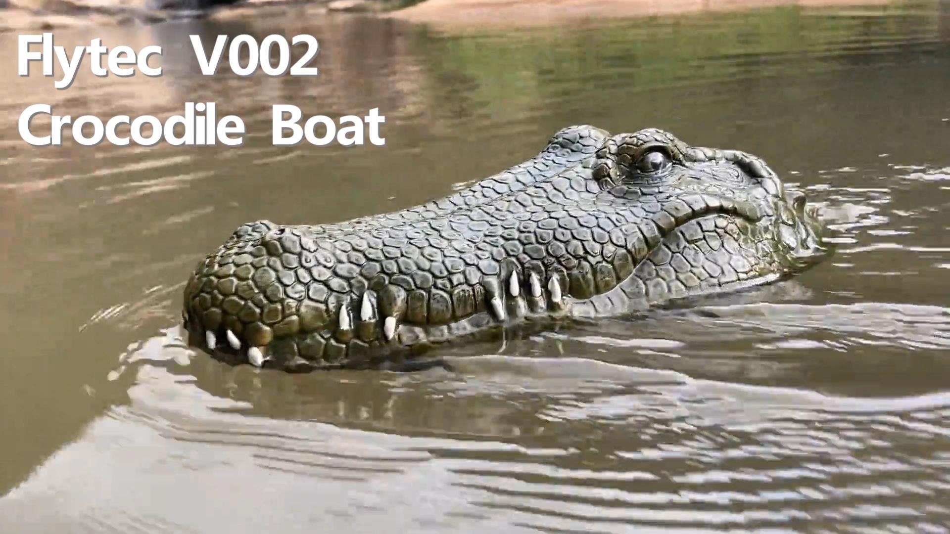 Flytec V002 RC Boat Mainan 2.4G Remote Control Perahu Listrik untuk Kolam Renang Float dengan Simulasi Buaya Kepala Spoof mainan