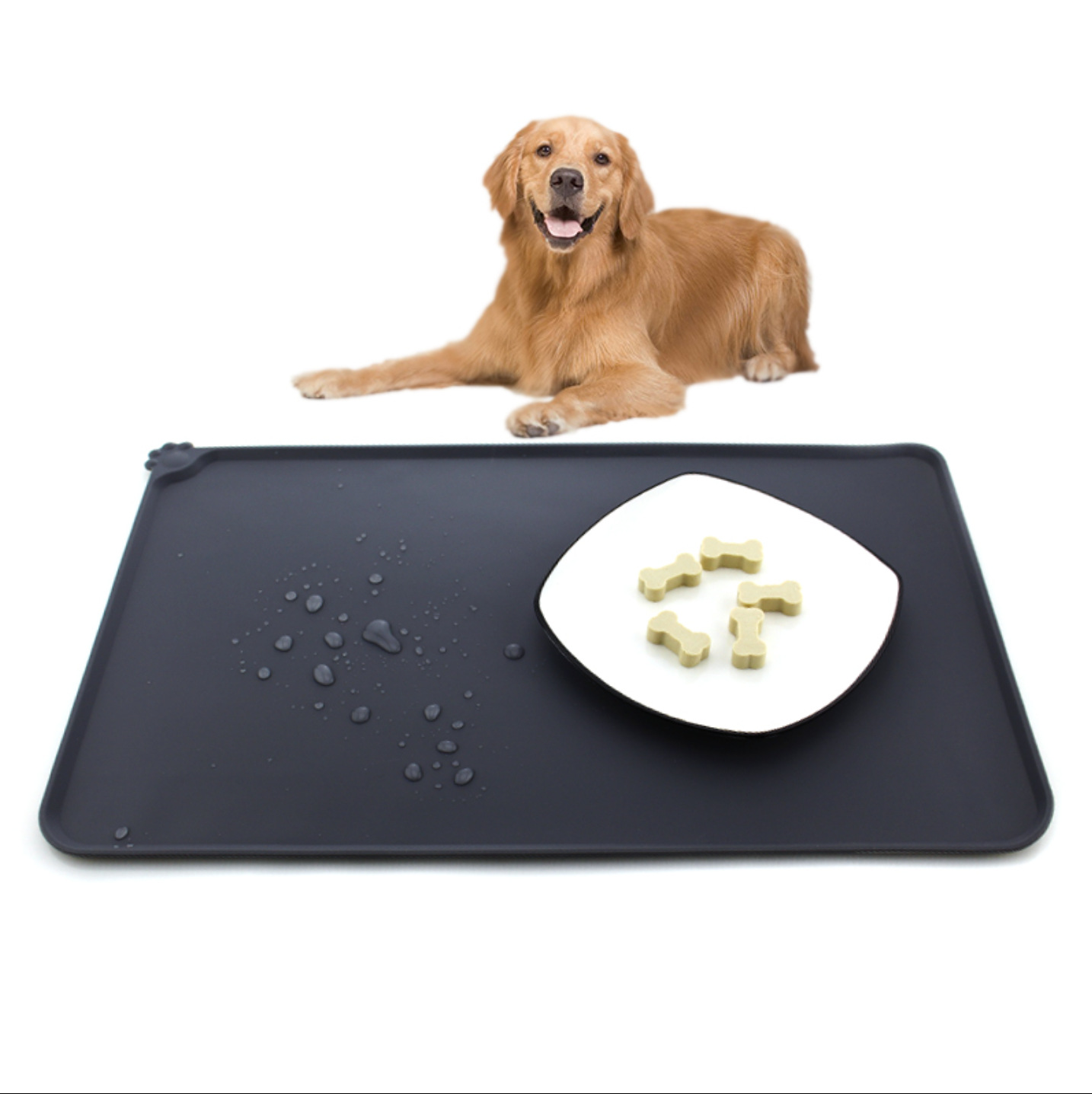 Fits Placing Dog Bowl Non-Stick Food Pad Water Cushion Waterproof Raised <strong>Edge</strong> Anti-Slip Silicone Dog Cat Pad Pet Dog Food Mat