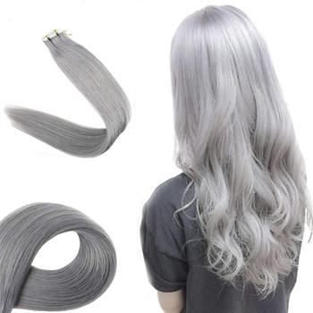"16""-24"" 20Pcs/Pack Full Head Tape On Hair Extensions Irgin Brazilian Tape Extension Human Gray Hair"