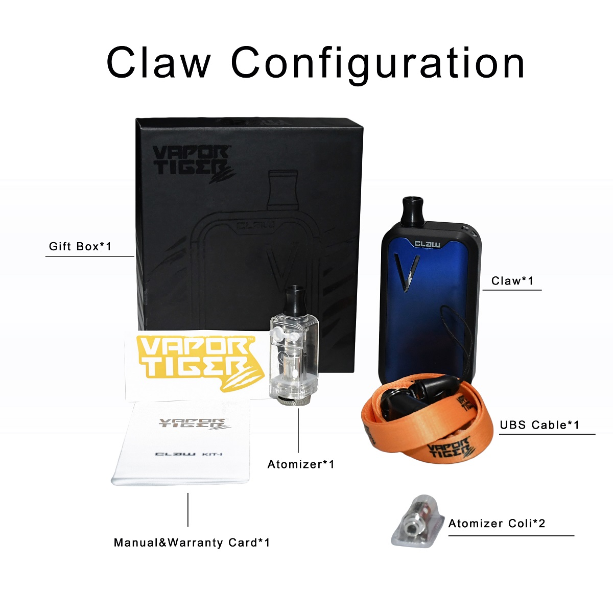other electronic cigarettes Claw full kit adjust voltage wattage 5-30w box mod vaping cigarette electronic