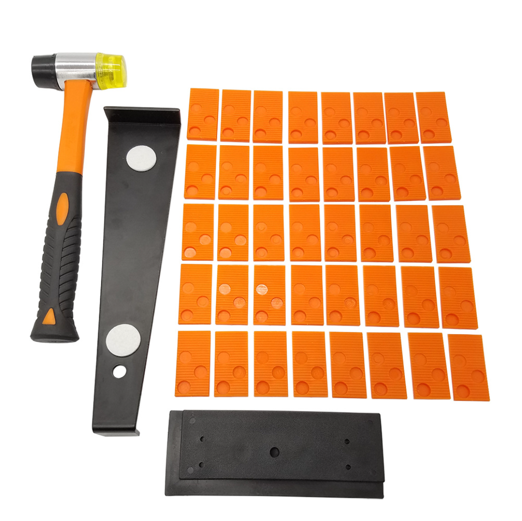 Laminate Wood Flooring Installation Kit with Tapping Block,Pull Bar, Reinforced Double-Faced Mallet and 40 Spacers