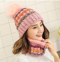 Ladies Winter Hat Warm Wool Hat With Fleece Sweet Young Lady Scarf Set Knitted Cap
