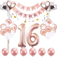 Rose Gold Sweet 16 Birthday Party Decoration Happy Birthday Balloons Garland For 16 Years Old Party 16th Birthday Supplies