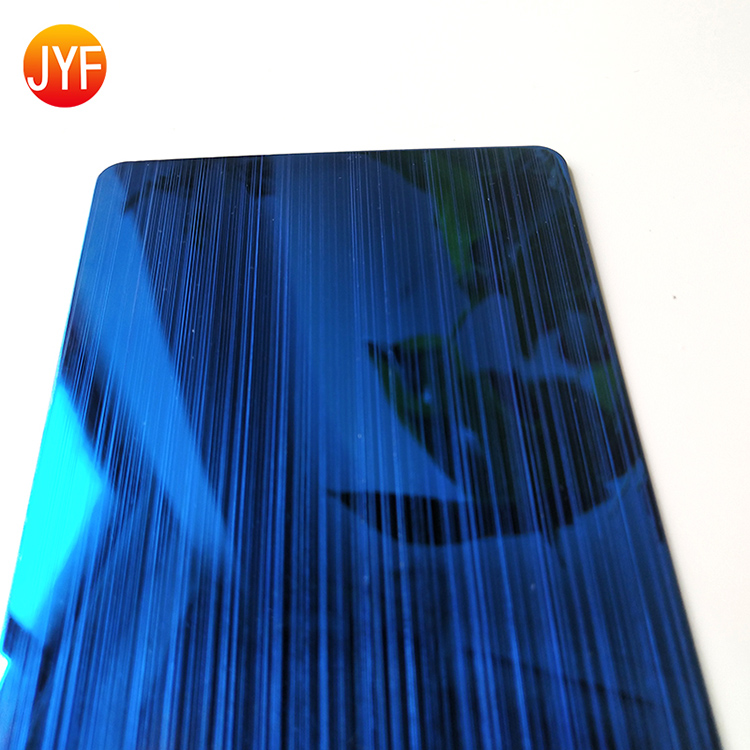 JYF883 Special Design Customized Decoration Plate 304 Hl Sapphire Blue 4*8 Stainless Steel Sheet