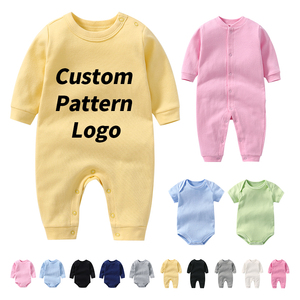 OEM Custom 100% Organic Cotton Baby Jumpsuit Clothes Plain White Boys Girls Rompers Printing Onesie Bodysuit Sets