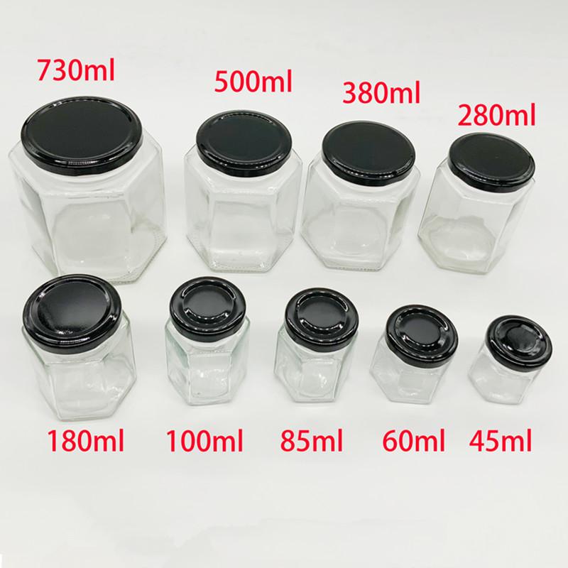 25ml 40ml 100ml 180ml 280ml 380ml 500ml 720ml Transparent hexagon glass royal honey jar
