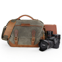 Retro casual waterproof waxed canvas durable travel video camera shoulder bag