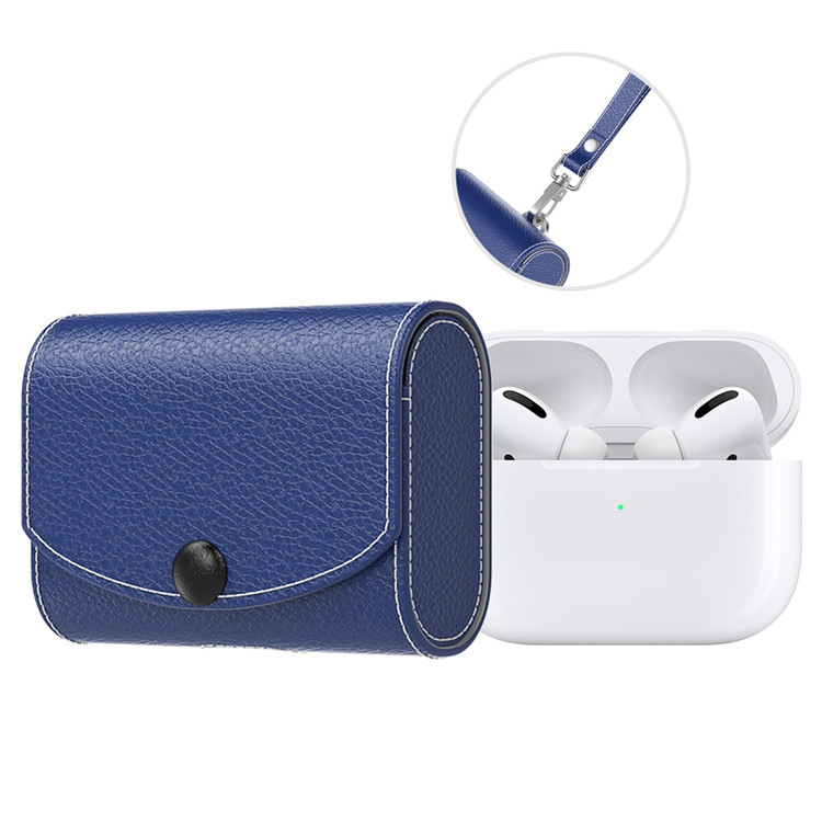 MoKo Case for AirPods Pro 2019, Snap Closure PU Leather Fashion Style Full Protective Cover Carrying Pouch Pocket with Strap