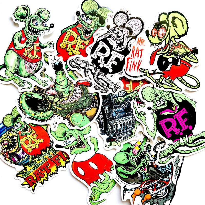 10pcs Rat Fink Car Hot Rods Vinyl Decal Graffiti Ed Roth Luggage Stickers
