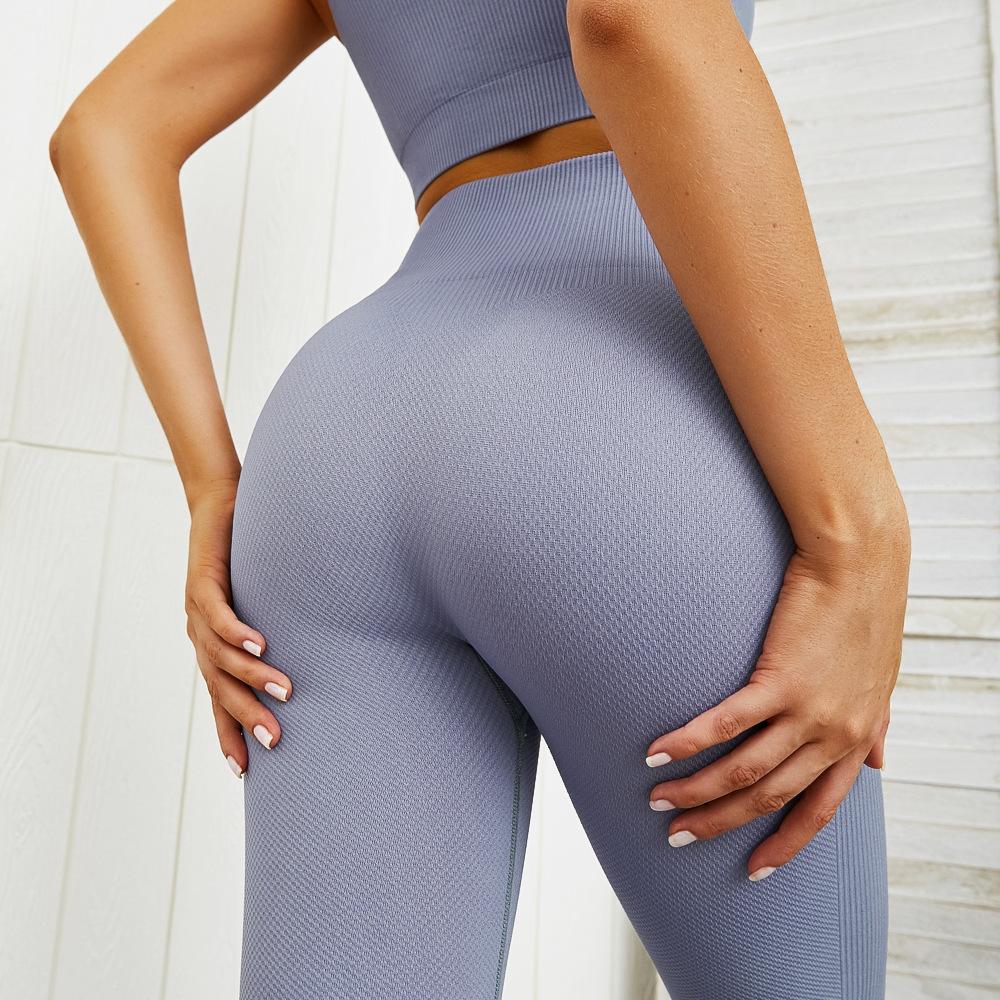 Wholesale Sliming High Waisted Leggings And Sports Bra Sets Seamless Yoga Sets 10