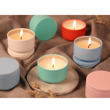 Fancy Solid Color Printed 2oz Seamless Small Metal Holder Travel Candle Tin
