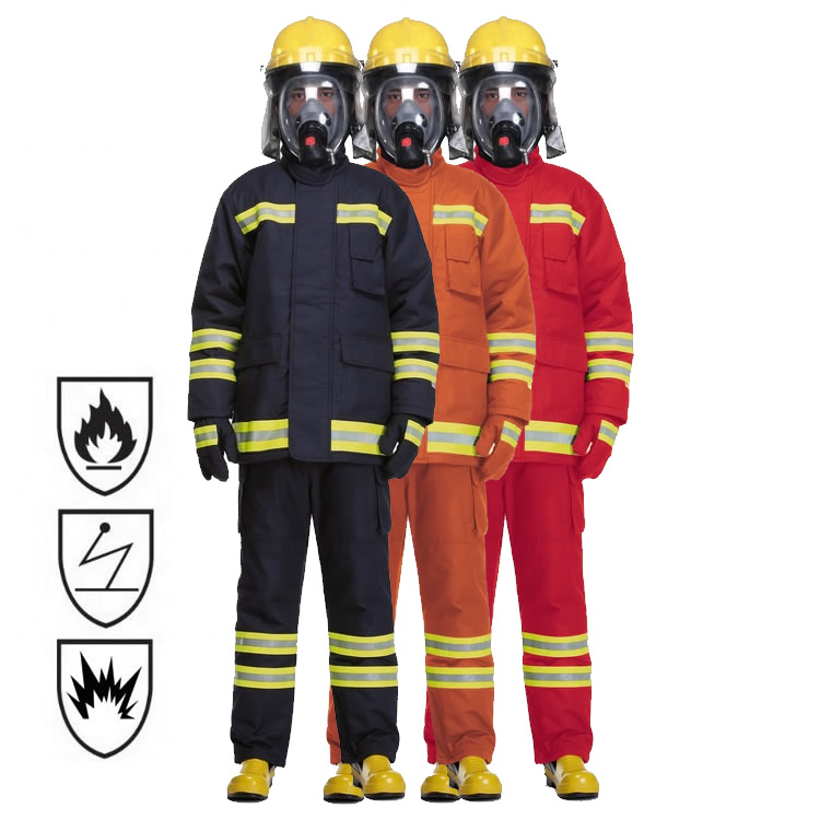 EN469 NFPA1971 Classic Navy Blue Dupont Nomex Twill Shell 4 Layers Fire Fighter Fireman Fire Fighting Firefighter Suits