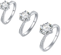 White Gold Plated Moissanite Stone 925 Sterling silver Rings For Wedding Diamond