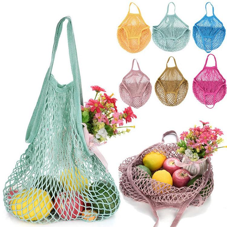 eco friendly cotton mesh tote bag durable organic net shopping bag women market reusable mesh grocery bags, Customized color