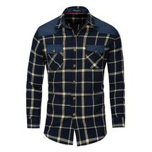 Mode Männer Kleidung 100% Baumwolle Casual Langarm <span class=keywords><strong>Plaid</strong></span> Shirts Eur größe