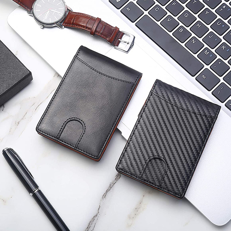 High-Quality Magnetic Leather Money Clip Wallet for Men Slim Front Pocket RFID Blocking Card Holder Minimalist Bifold Wallet
