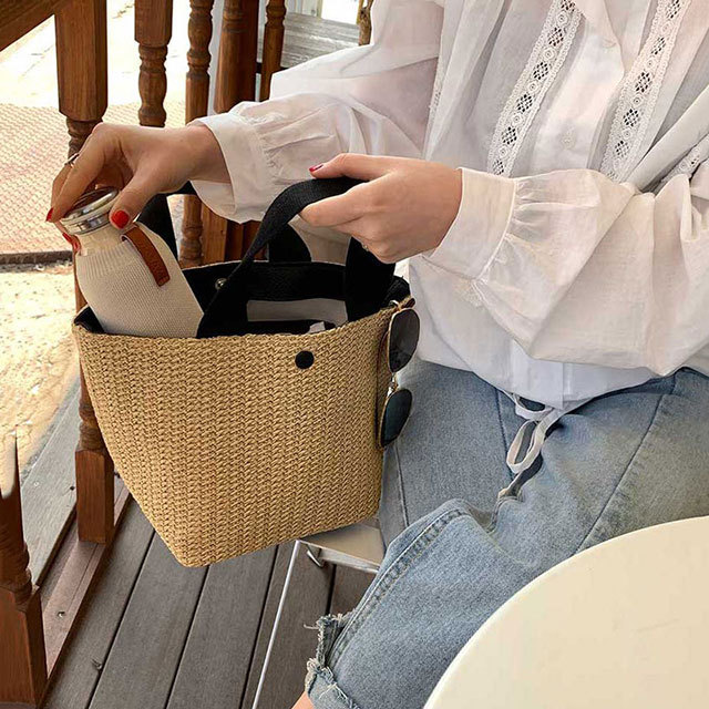 product-Girls Straw Bag for Beach 2020 New Small Totes Knitting Summer Purses and Handbags Vocationa