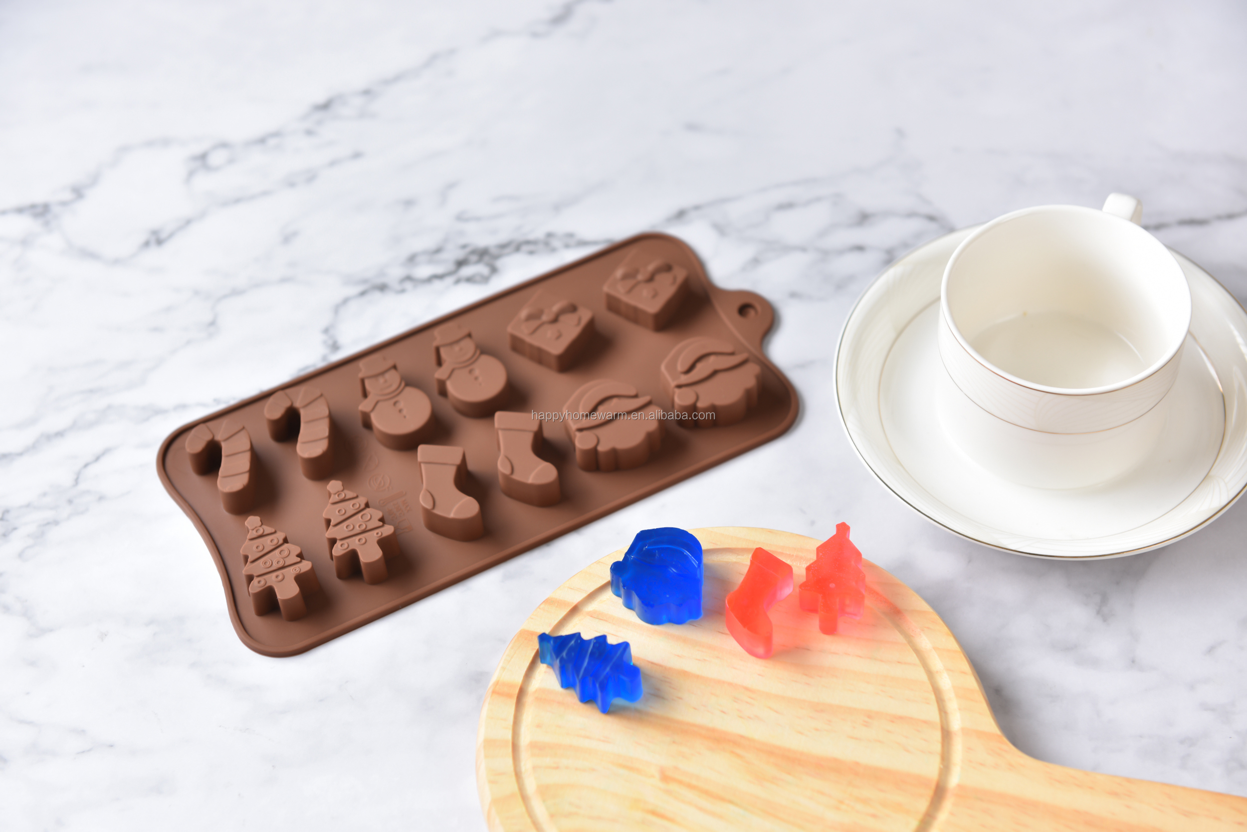 15 Cavities BPA Free China Flower Shape Jelly Baking Mold Cake Pan Ice Candy Soap Tray Silicone Bakeware Chocolate Mould