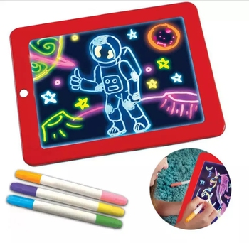 Educational Toys Creative 3D Magic Drawing Pad Luminous Writing Board Light Up LED Board Drawing and Writing Pad With Pen Brush