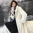 2019 Fashion Customized Winter Long White Woman Mink Fur Coat Real