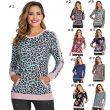 WT-021 neue mode-Design patchwork farbe shirts floral & leopard print lange seeve shirts raglan damen frauen herbst casual tuch